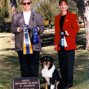 Aster winning High in Trial to finish her ASCA CD under Judge Becky Johnson, 11.26.2000