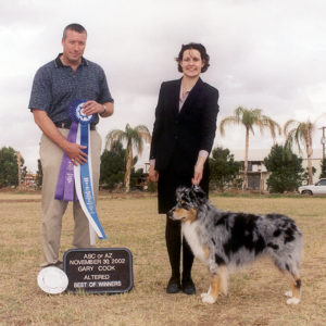 Jazz winning Altered Winners Dog and Altered Best of Winners under Judge Gary Cook at the ASCAZ Silver Specialty, 11.30.2002