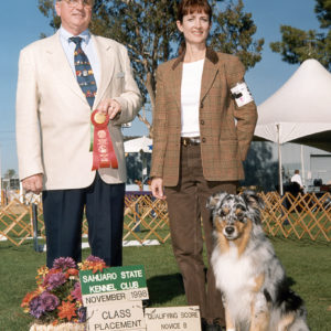 Jazz winning second place in Novice B at the Sahuaro State KC show, November 1998