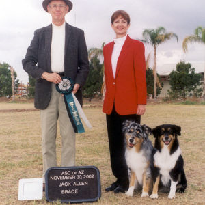 Jazz and Aster winning Best Brace under judge Jack Allen at the ASCAZ Silver Specialty, 11.30.2002