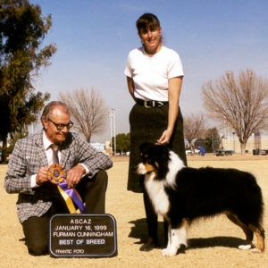 Symon winning Best of Breed, handled by Kristin Rush at ASCAZ under Judge Furman Cunningham, January 16, 1999.