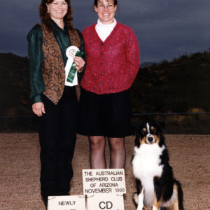 Cody finishing his ASCA CD with a 4th place in Novice B, and a score of 187.5 under Judge Glenda Teaff. ASCAZ Silver Specialty, Phoenix, AZ November 28, 1998. Photo Credit Jan Kohler