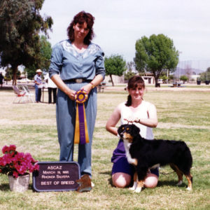 Phoebe winning Best of Breed under ASCA Senior Breeder Judge Rhonda Silvera, at ASCAZ, Phoenix AZ, March 19, 1995