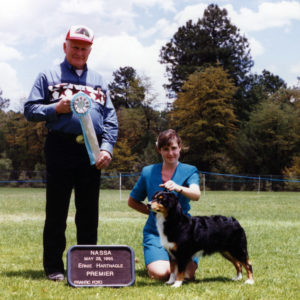 Phoebe winning Premier Champion under Senior Breeder Judge Ernie Hartnagle, at NAASA May Days, Payson AZ May 28, 1995
