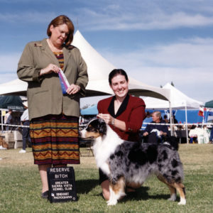 Zoe winning Reserve Winners Bitch under Judge Stephanie Hedgepath at Greater Sierra Vista KC, Tucson, AZ, November 18, 2001. Photo Credit Reinhart Photography