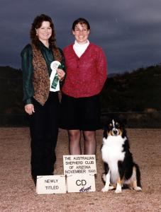 Cody finishing his ASCA CD with a 4th place in Novice B, and a score of 187.5 under Judge Glenda Teaff. ASCAZ Silver Specialty, Phoenix, AZ November 28, 1998.
