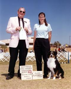 Cody winning 4th place in Novice B with a score of 193.5 under Judge James B Teneyck. Scottsdale Dog Fanciers Ass'n., March 27, 1999.