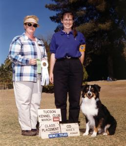 Cody winning 4th place with a 193 in Novice B under Judge Karen I Teneyck. Tucson KC, March 28, 1999.
