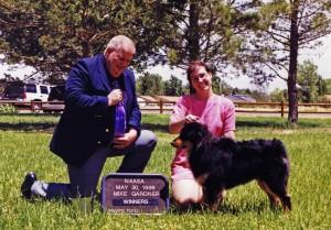 Daisy winning Winners Bitch under Judge Mike Gardner at NAASA May Days, Chino Valley AZ, 30 May 1999