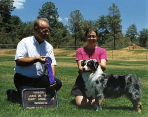 Zoe winning Winners Bitch under Judge Gary Anderson at NAASA in Prescott AZ, June 26, 1999