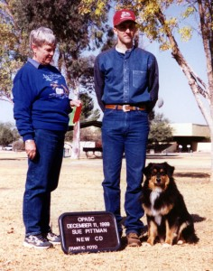 Daisy finishing her ASCA CD title under Judge Sue Pittman at OPASC, Marana AZ, Dec 1999