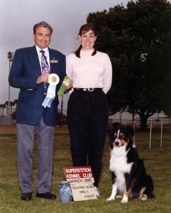 Cody winning 4th place with a 190.5 in Open B under judge  Cunningham. Superstition KC, March 5, 2000