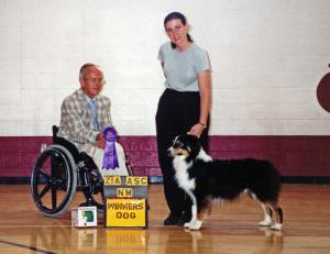 Cody going Winners Dog at Zia ASC under Judge Phil Norris, August 6, 2000.