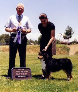 Clover winning Reserve Winners Bitch under Judge Clay Coady at NAASA, 23 June, 2001