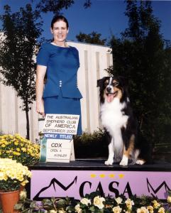 Cody finishing his ASCA CDX at the 2001 ASCA Nationals in Greeley, CO, September 20, 2001.