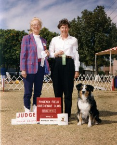 Abbi getting a leg on her AKC CD, and 4th place in Novice B under Judge Joanne Weaver at Phoenix Field and Obedience Club, Phoenix AZ