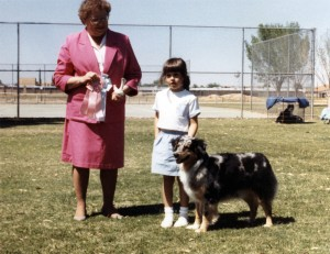 Harley and Emily winning Best PeeWee Handler under Judge Donna Allen at OPASC, Marana AZ, 24 Mar, 1988.