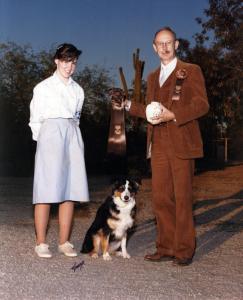 Meeka getting her first CDX leg in the Open A class under Judge Jack Allen at the 1987 ASCA Nationals, Phoenix AZ, November 1987