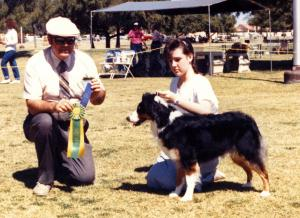Meeka and Claire winning Best Junior Handler under Judge Ron Nunnally at Desert Obedience, Mesa AZ, 1988