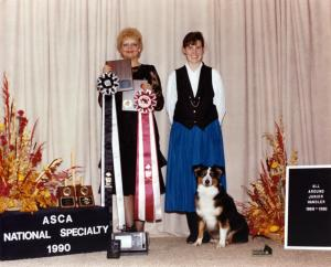 Meeka and Claire were ASCA's Best All Around Junior Handler, and made the 500 Club for 1989-1990. Awards presented by ASCA Junior Secretary Christine Hill, Sep 1990
