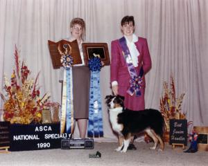 Meeka and Claire winning National Finals Best Junior Handler at the 1990 ASCA National Specialty, September 1990