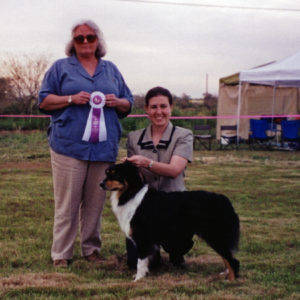 Aster winning Altered Reserve Winners Bitch under ASCA Senior Breeder Judge Sharon Herbert at OPASC 03.09.2001