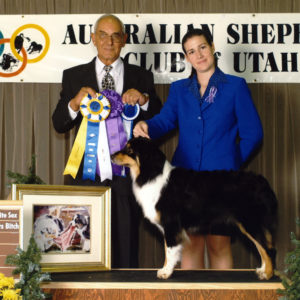Aster winning Altered Winners Bitch, Altered Best of Winners, and Altered Best Opposite Sex under Judge George Warner, at the first-ever Nationals-level Altered competition, the ASC of Utah Nationals Preshow. September 2001