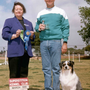 Echo's first AKC CD leg, first place in Novice A with owner Joe Yarchin. March 1999
