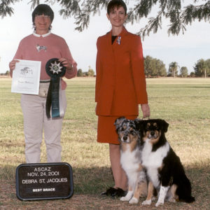 Jazz and Aster winning Best Brace under judge Deb St. Jacques at the ASCAZ Silver Specialty, 11.24.2001