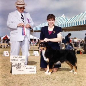 Phoebe winning Winners Bitch and Best of Winners for a 5 point major Kachina Kennel Club, Goodyear AZ, March 6, 1994