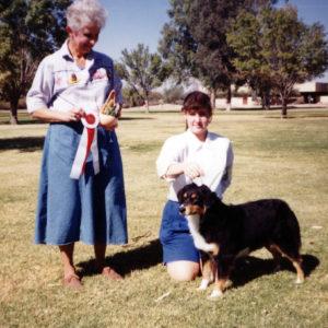 Phoebe winning Best Opposite Sex under Judge Nancy Smith, at OPASC, Marana AZ, November 6, 1994