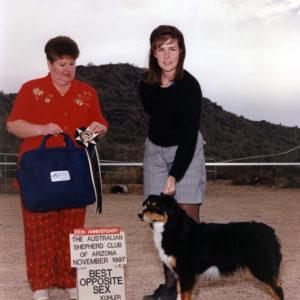 Phoebe winning Best of Breed under ASCA Senior Breeder Judge Judy Norris, at the ASCAZ Silver Specialty Cool-Down Show, Phoenix AZ, November 1997