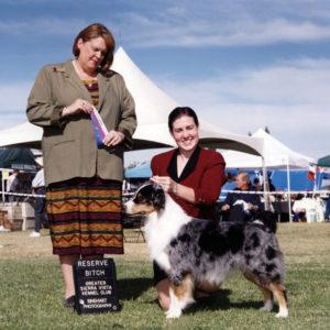 Zoe winning Reserve Winners Bitch under Judge Stephanie Hedgepath at Greater Sierra Vista KC, Tucson, AZ, November 18, 2001. Photo Credit Reinhart Photography