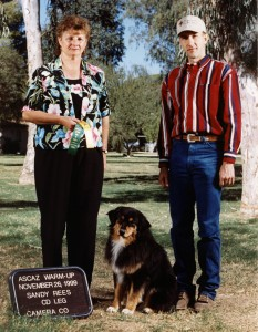 Daisy getting a leg on her ASCA CD title under Judge Sandy Rees at the ASCAZ Silver Specialty, Queen Creek AZ, Nov 1999