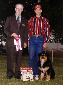 Daisy finishing her AKC CD at Superstition KC, Mesa AZ, March 2000