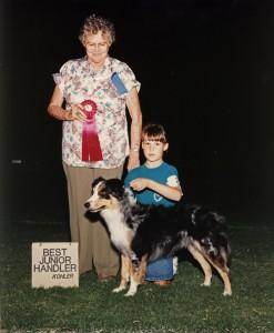 Abbi & Emily winning Best Junior Handler at the Casa Grande KC Match/OPASC Show, Sept 1990