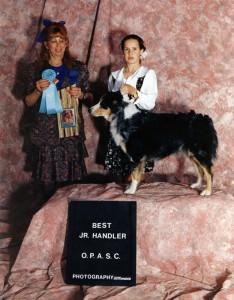 Abbi and Emily winning Best Junior Handler under ASCA Senior Breeder Judge Lois Odom-Harlow at the 1994 OPASC Nationals Pre-show, Phoenix AZ, Nov 1994