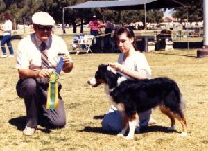 Meeka and Claire winning Best Junior Handler under Judge Ron Nunnally at Desert Obedience, Mesa AZ, 1988
