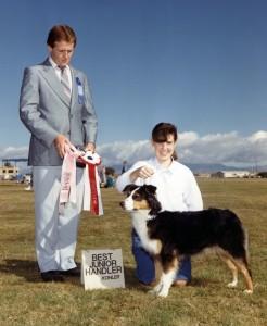 Meeka and Claire won Best Junior Handler under Judge Rick Myselwick Jr. at the ASCAZ Silver Specialty, Phoenix AZ, Nov 1988