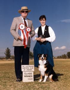 Meeka winning High Score Junior Obedience with a score of 188.5 in Open B under Judge Harry Burke, at the 1989 ASCAZ Silver Specialty, Phoenix AZ, Nov 1989