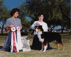 Meeka and Claire winning Best Junior Handler under Judge Pam Lambie at the 1990 ASCAZ Silver Specialty, Goodyear AZ, Nov 1990