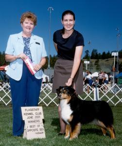 """Clover winning Winners Bitch and Best Opposite Sex under judge Edna """"Katie"""" Gammill at Flagstaff KC, Flagstaff, AZ June 2001"""